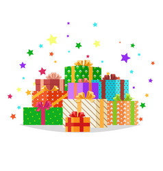 Bunch of presents  holiday collection vector