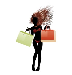 Bikini girl going shopping2 vector