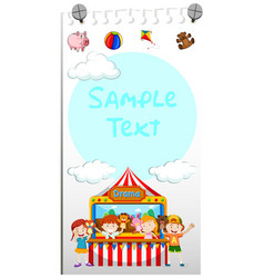 Paper template with kids playing puppet vector