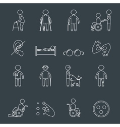 Disabled icons set outline vector