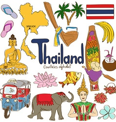 Collection of thailand icons vector