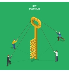 Key solution isometric flat concept vector