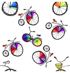 Cute doodle bicycles vector
