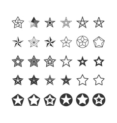 Star icons set black and white vector
