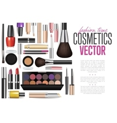 Makeup cosmetics tools fashion background vector
