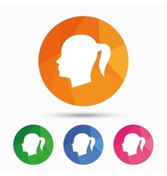 Head sign icon female woman human head vector