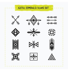 Black silhouette aztec sing and symbols icons set vector