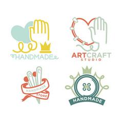 Art and handmade craft logo templates flat set vector
