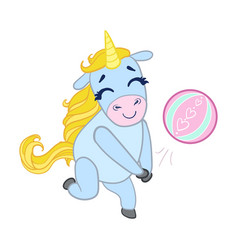 Cartoon light blue unicorn playing with a ball vector