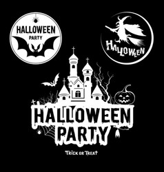 halloween party message black and white vector image vector image
