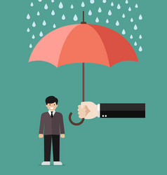 hand holding an umbrella protecting businessman vector image vector image
