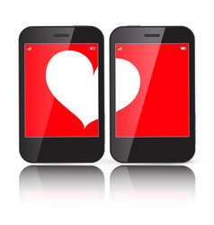 Heart on two cell phones displays vector