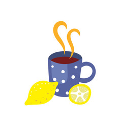 Hot beverage cup with lemon flat isolated vector