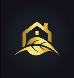 house leaf nature gold logo vector image vector image