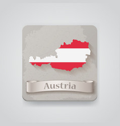 Icon of austria map with flag vector