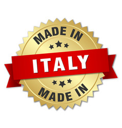 Made in italy gold badge with red ribbon vector