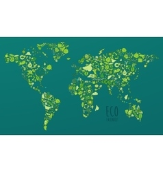 Map Eco Friendly Green Concept Flat vector image