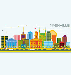 Nashville skyline with color buildings and blue vector