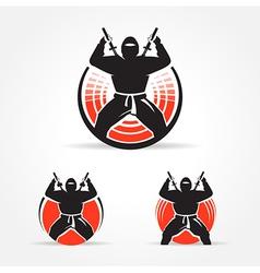 Ninja symbol emblem set vector