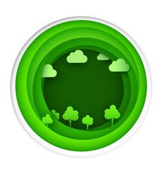 paper art of eco park on green circle shape vector image vector image