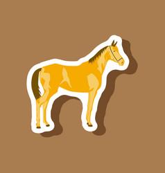 paper sticker on stylish background horse vector image