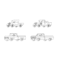 Pickup Truck Classic Design Models Collection vector image