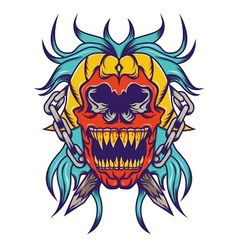 Red skull with bloe hair tatoo design vector image vector image
