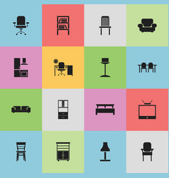 set of 16 editable furnishings icons includes vector image vector image