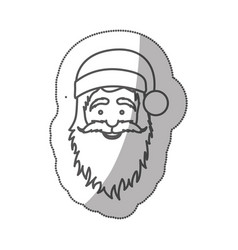 Sticker silhouette half body cartoon santa claus vector