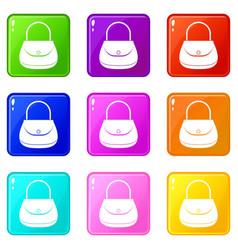 Woman bag icons 9 set vector