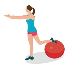 Woman fitness position using stability ball vector