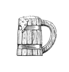 wooden tankard vector image vector image