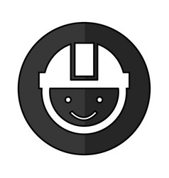 Worker with helmet head vector