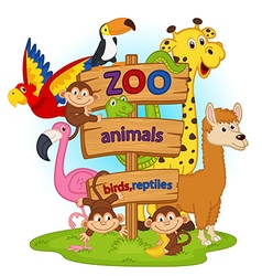 zoo animals near wooden sign vector image