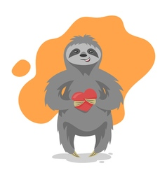 Loving happy cute sloth with heart in his hand vector