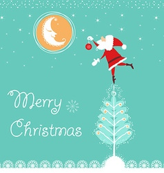 Christmas card with santa and nice moon blue card vector