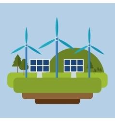 Wind energy solar panel mountain background vector