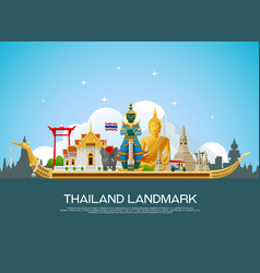 Thailand landmark and building travel vector