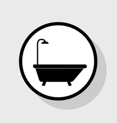 Bathtub sign  flat black icon in white vector