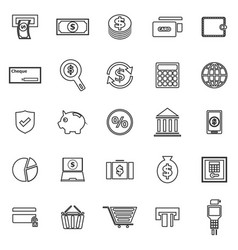 Payment line icons on white background vector