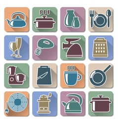 Kitchenware retro flat icons vector