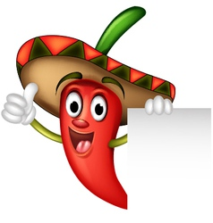 chili pepper with blank sign vector image