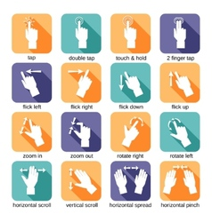 Touch interface gestures icons vector