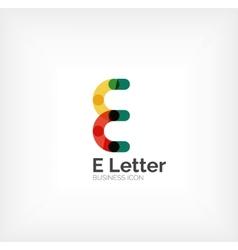 E letter logo minimal line design vector