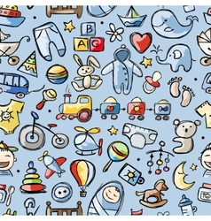Toys for baby boy seamless pattern for your vector image