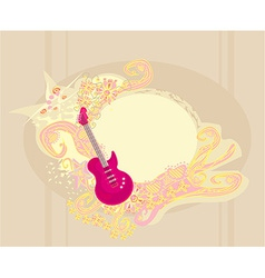 Image of pink guitar with wide area for your vector