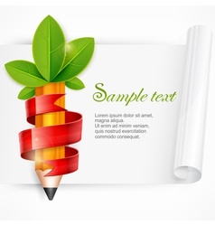 Pencil with leaves and ribbon vector
