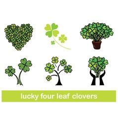 four leaf clovers set vector image