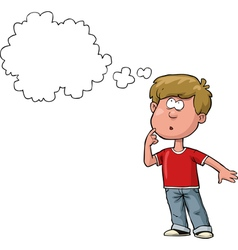 thought the boy in a red t shirt vector image