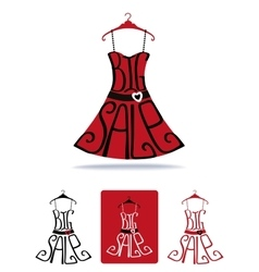 Big sale lettering on dress shape on hangericon vector
